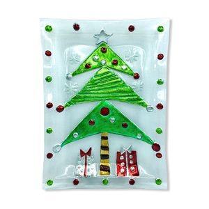 Rikaro Glass Painted Plate Christmas Tree Platter